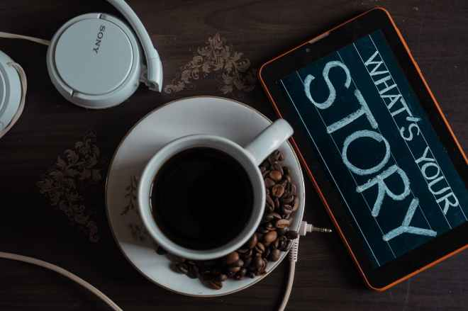 top view photo of coffee near tablet